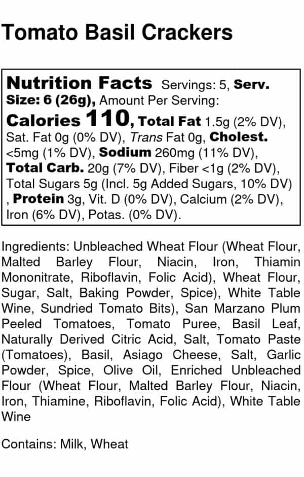Tomato Basil Nutrition Label
