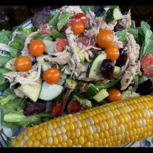 Chicken, Cucumber, Avocado, Salad with Tomato and Olives