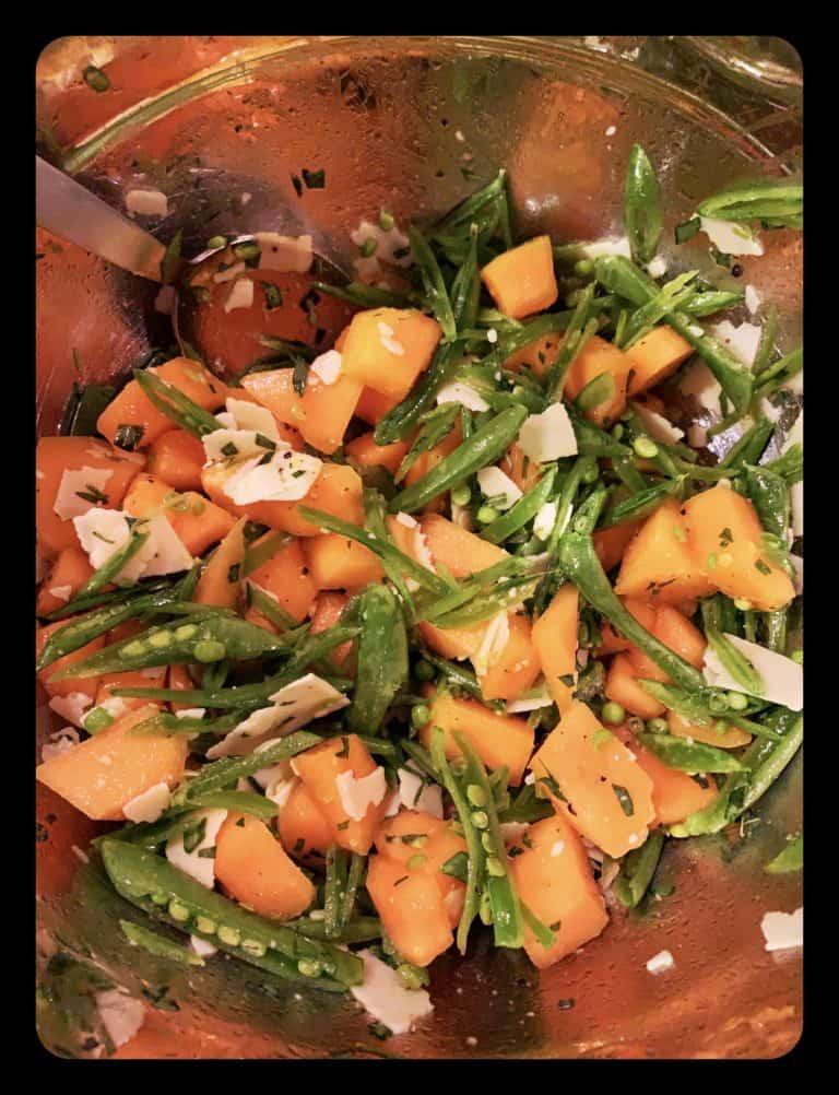 Cantaloupe, Snap Pea & Romano Salad